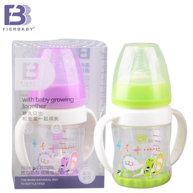 Fierbaby novo 3 cores 100 ml largo-boca garrafa de vidro à prova de Explosão-automaticamente para crianças feito de garrafa