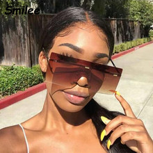 Gafas de sol marrones de gran tamaño para mujer, lentes de sol Retro Vintage de marca de lujo sin montura, lentes de sol femeninas, gafas de sol grandes