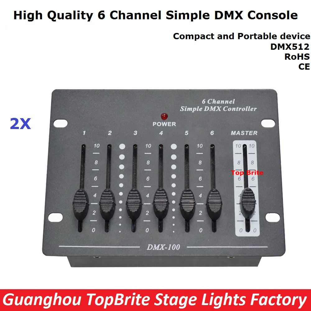 2XLot Big Discount 6 Channel Simple DMX Controller For Stage Lighting 512 DMX Console Dj Controller Equipments Free Shipping dmx512 digital display 24ch dmx address controller dc5v 24v each ch max 3a 8 groups rgb controller