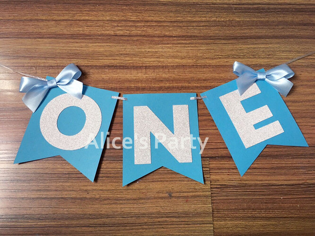 personalized silver one banner boy highchair bunting first birthday blue flag baby 1st party decoration ribbon