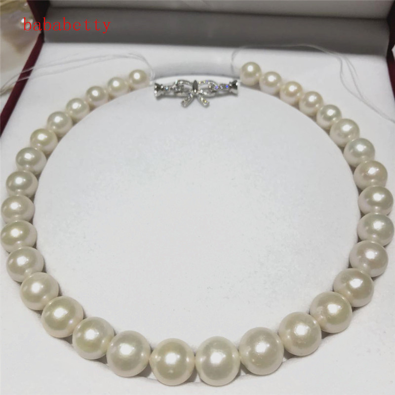 luxury NEW Natural 12-15mm White pink Baroque Edison Freshwater Cultured Nuclear Pearl Beautiful necklace Bowknot is clasp 18