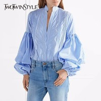 TWOTWINSTYLE Striped Women S Shirt Lantern Sleeve V Neck Plus Size Blue Blouse Autumn Office Lady