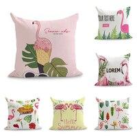 Olá Verão Pink Flamingos Quadrinhos Travesseiro Tampa Decorativa Euro Massageador Almofadas Decorativas Presente Decor Home