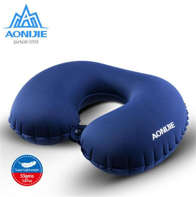 AONIJIE Camping Mat Portable U Shape Inflatable Pillow Sleeping Gear Travel Cushion Soft Neck Protective HeadRest Plane Pillow