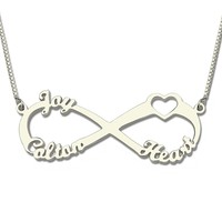 34cd856306ef Custom Name Necklace Silver Jewellery Necklaces Infinity Pendant With Love  Heart Collier Bijoux Chain Gifts For. Collar de nombre personalizado ...