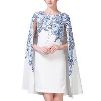 Runway Dress High Quality 2019 Summer Dresses O Neck Blue and White Cloak Sleeves Printed Dresses Women Vestidos