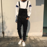 Black Denim Overalls Men 2017 New Fashion Bib Jeans Mens Overall Jeans With Suspenders Kangaroo Pocket