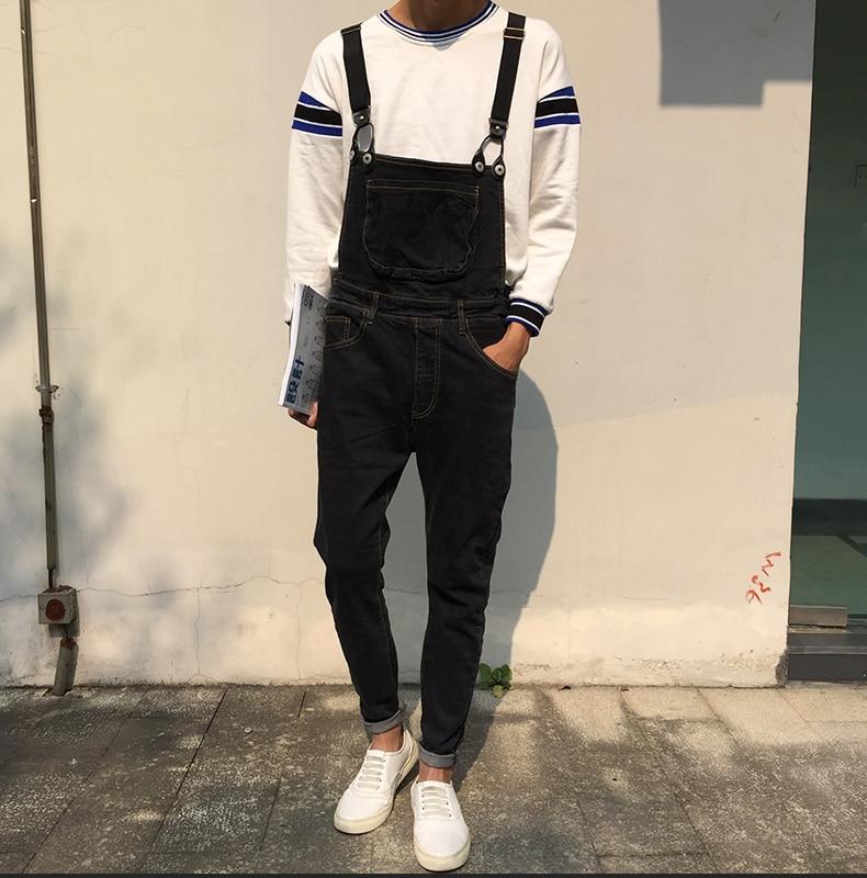 Black Denim Overalls Men 2017 New Fashion Bib Jeans Mens Overall Jeans With Suspenders Kangaroo Pocket Free Shipping korean fashion men blue denim overalls new 2017 mens bib jeans male overall jeans with suspenders front pockets