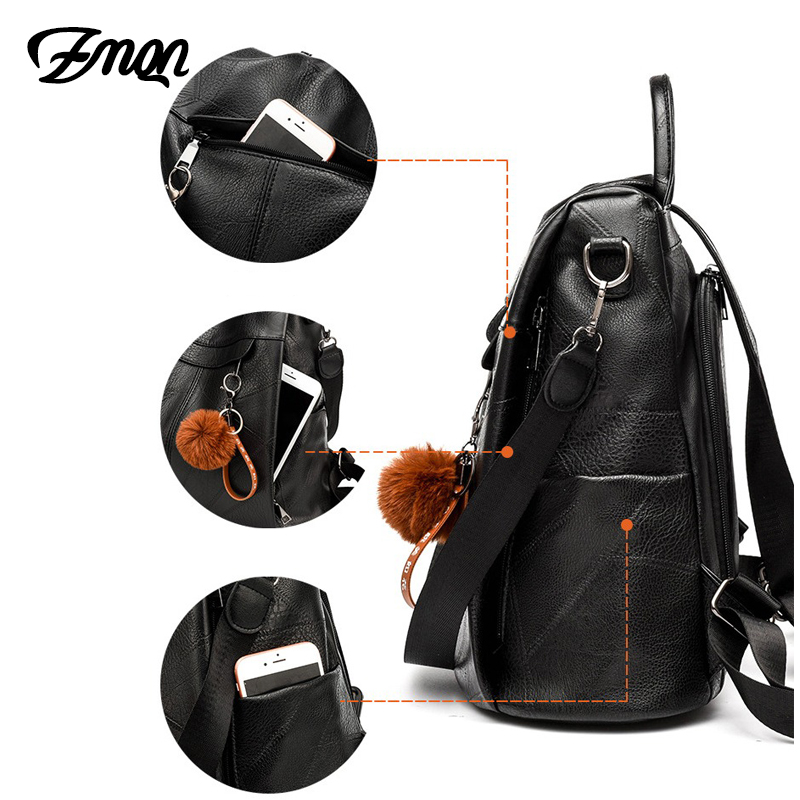 Image 4 - ZMQN Backpack Women Shoulder School Bags for Teenage Girls Vintage Leather Anti Theft Backpack Mochila Mujer Back Pack Lady C106-in Backpacks from Luggage & Bags