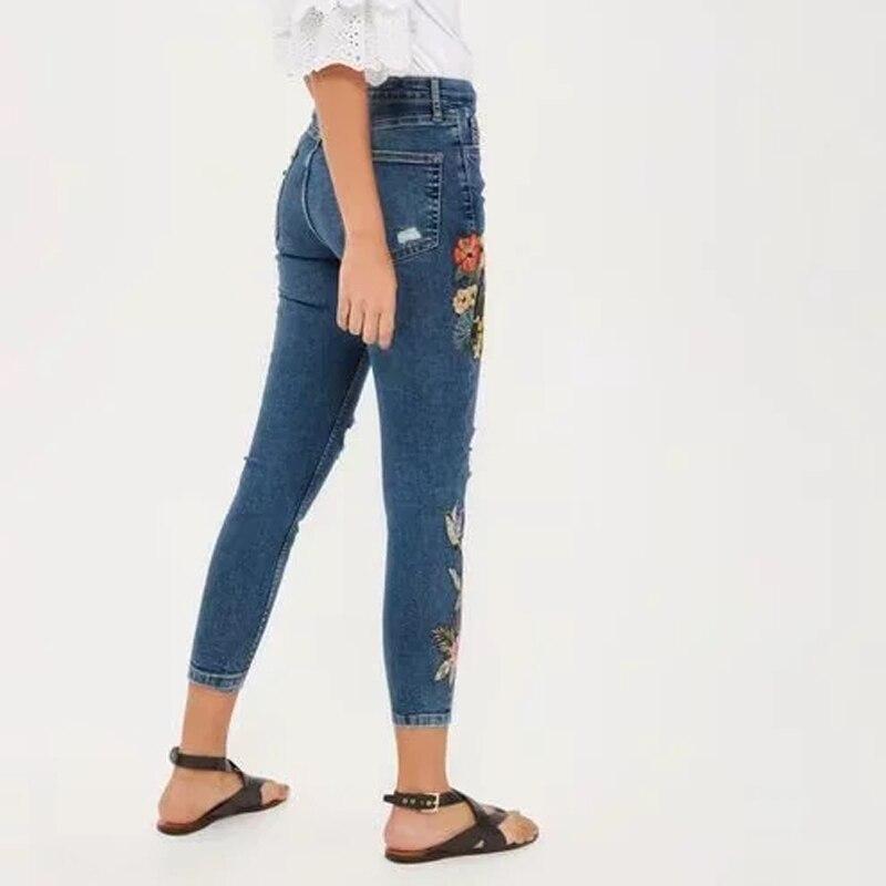 Nouvelle Vintage Pa71801 Belle Mode Denim longueur Pantalon Poche Cheville Mignon Crayon D'été Femme Broderie Évider De Femmes Femelle T88rZRX