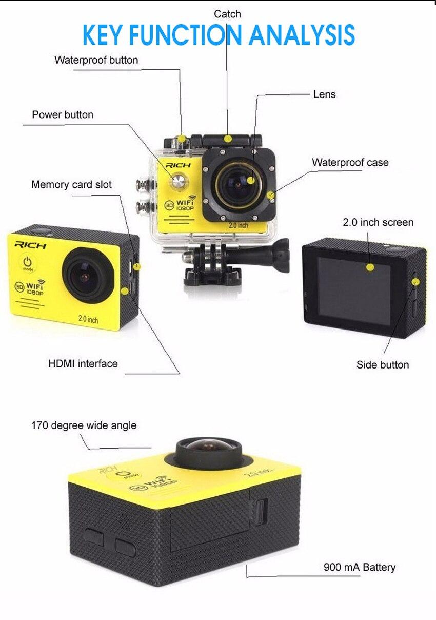 2018 Neue Action Kamera Full Hd 1080 P 30fps Gopro Hero 4 Stlye Novatek96655 Wifi Wasserdichte 30 Mt Tauchen Außen Sport Kamera Reich Und PräChtig