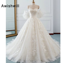 Awishwill Chapel Train A-Line Wedding Dresses With