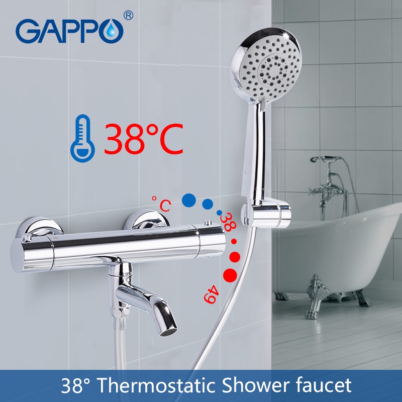 GAPPO Shower Faucets Thermostatic Shower Faucet Bathroom Bathtub Faucet Taps Bath Shower Mixer Set Waterfall Shower Head Set
