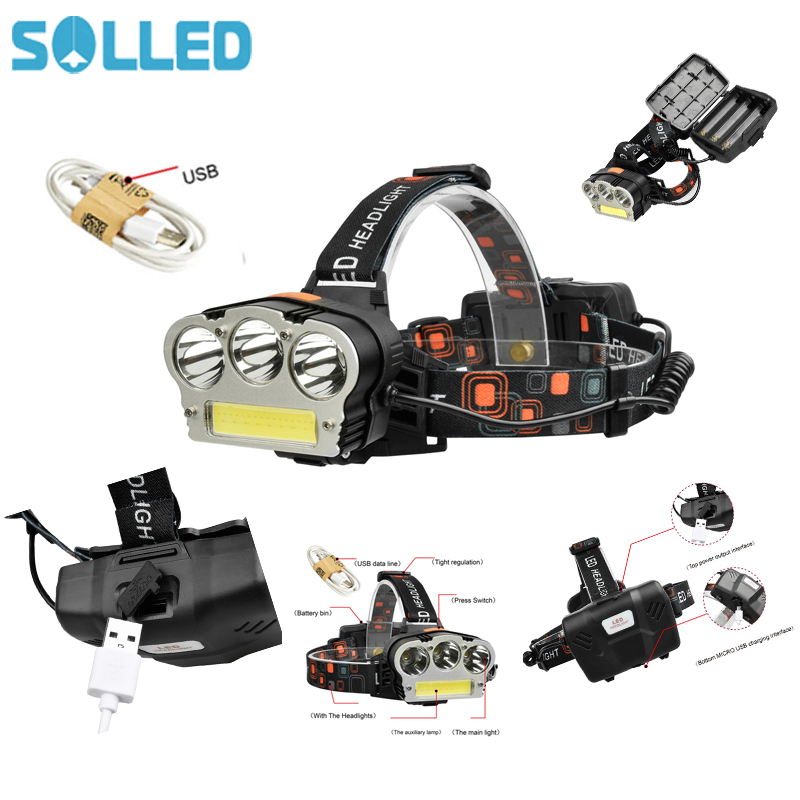 SOLLED USB Charging T6+XPE Strong Light Headlight Camping Lamp for Night Fishing Outdoor Activities