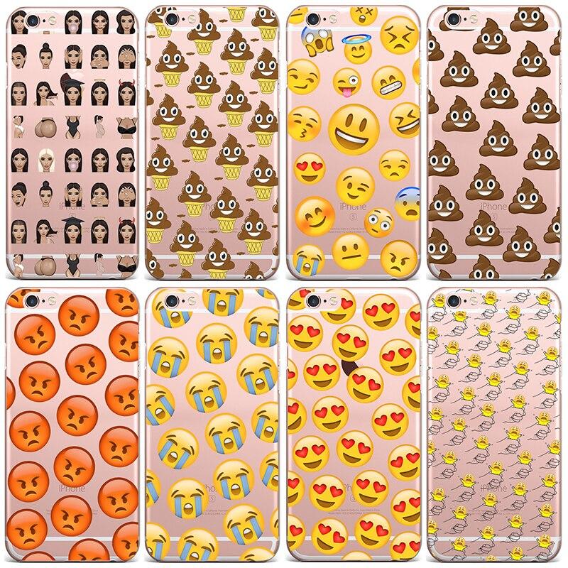 Мода милые смешные смайлики чехол для iPhone 6 6S 5 5S SE 7 7 плюс 6 6S 6 Plus 6S плюс силиконовые сотового Телефонные чехлы крышка