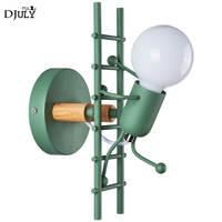 nordic ladder man metal wood wall lamp for kids bedroom bedside bathroom mirror light indoor lighting stairs led sconces lamps