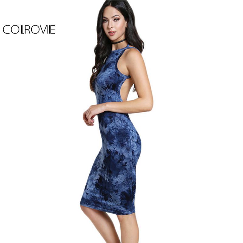 COLROVIE Tie Dye Bodycon Party Dress Navy Racer Neck Backless Women Sexy Club Summer Dresses Fashion 2017 Slim Jersey Midi Dress