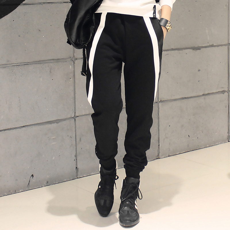 Autumn and Winter Kids Adults Black White Faux Leather Patchwork Hip Hop Harem Pants Personality Streetwear Dance Trouser