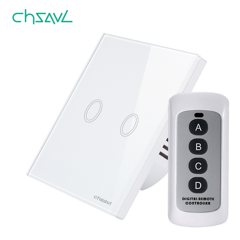 CHSAVL EU/UK Standard Wireless Remote Control Light Switch 2 Gang 1 Way White Glass Panel Wall Touch Switch for RF433 Smart Home eu uk standard 1 2 3 gang 2 way remote control light switch glass panel lamp switch for rf smart home touch wall light switch