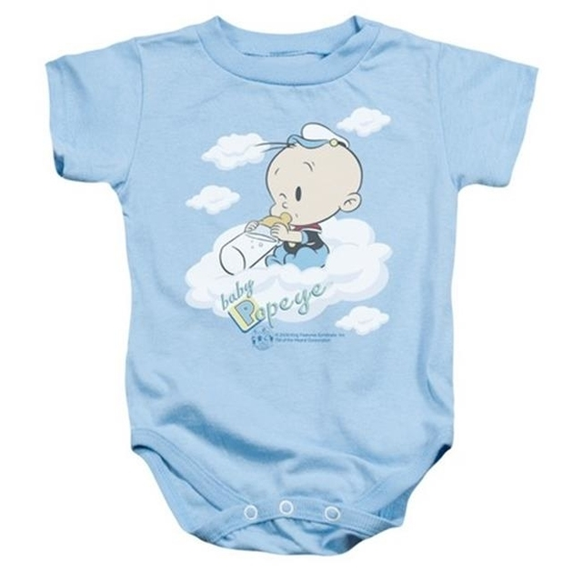 Trevco Popeye-Baby Clouds Infant Snapsuit Light Blue – Medium 12 Months