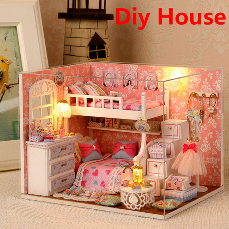 New Doll House Toy Miniature Wooden Doll House Loft With: New Handmade Doll House Furniture Miniatura Diy Doll