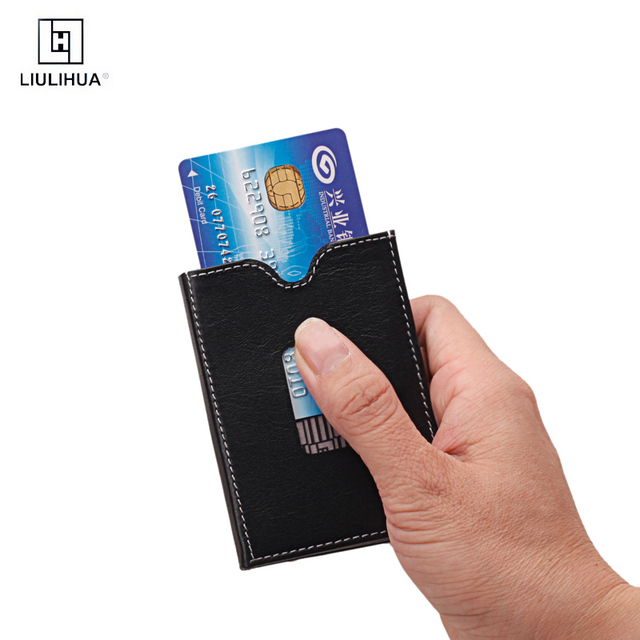 LLH New Promotion Quality Leather Stainless Steel Business Card Holder