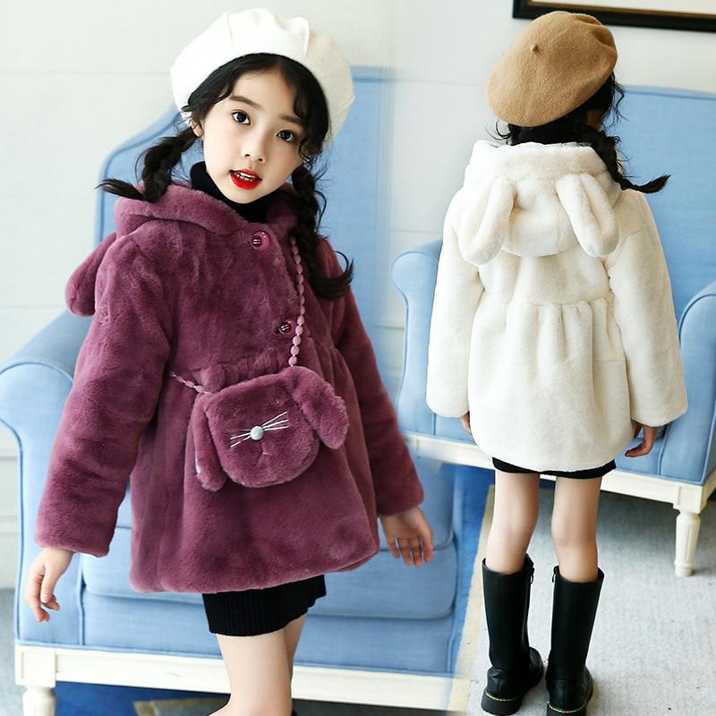 Oreille à capuche enfants manteau Cartoon filles hiver manteau hiver à manches longues en fausse fourrure manteau chaud veste bébé coton épais vêtements d'extérieur pour enfant