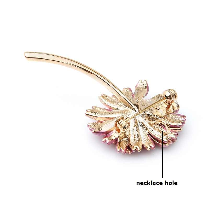 Wuli&baby Enamel Pink Daisy Trendy Brooch Flower Pin For Women and Mom Gift Simple Accessories 2019