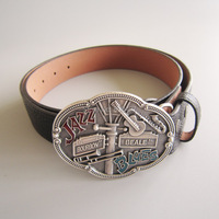 Wholesale Silver Plated Jazz Country Music Belt Buckle W Black Synthetic Leather Belt Fast Delivery