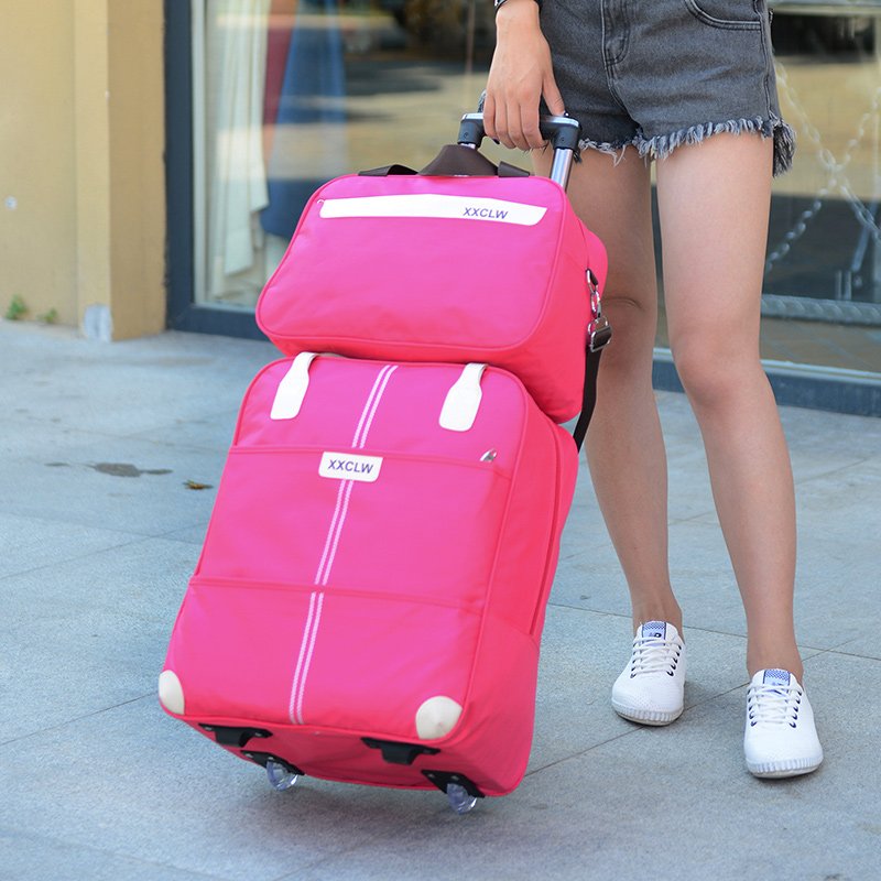Women Travel Luggage Bag Travel Trolley Bag Wheels Suitcase Travel Rolling Bag Handbag Baggage Rolling Travel Bag With Wheels
