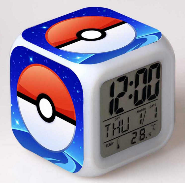 Japanese Anime Pokemon Pikachu Seven Color Change Glowing Alarm Clock Cute Gifts