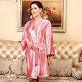 Женщины Лето С Длинным Рукавом Шелковые Халаты Атлас Ванна Цветочные Одеяние Пижамы Халат Сексуальный Кимоно