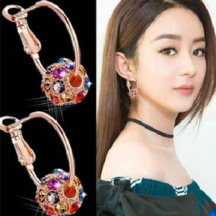 Hot Sale Trendy Gold Metal Colorful White Crystal Ball Pendant Statement Hoop Earrings for Women Jewelry Bijoux Brinco Oorbellen