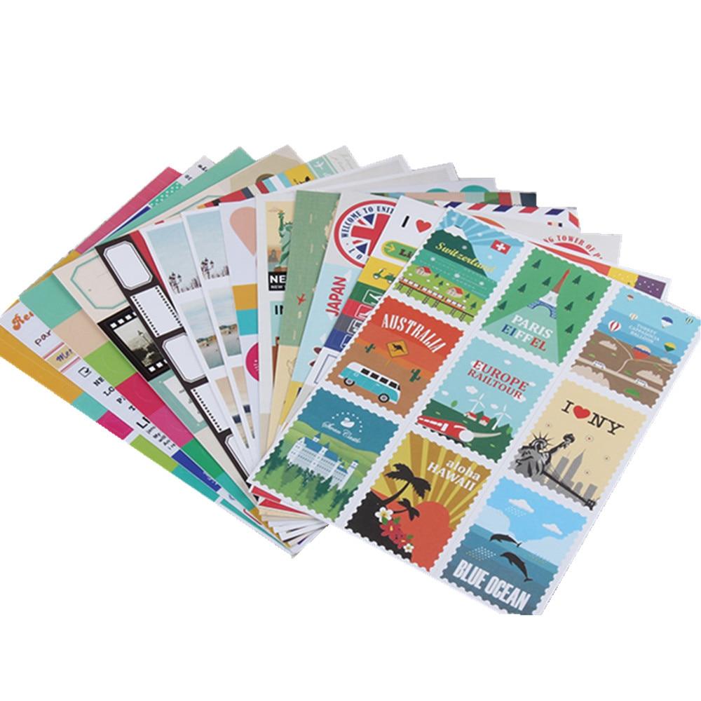 How to scrapbook travel - 24 Sheets Travel Album Diy Stamp Sticker Diary Notebook Scrapbooking Planner Decoration Sticker Vintage Stationery School