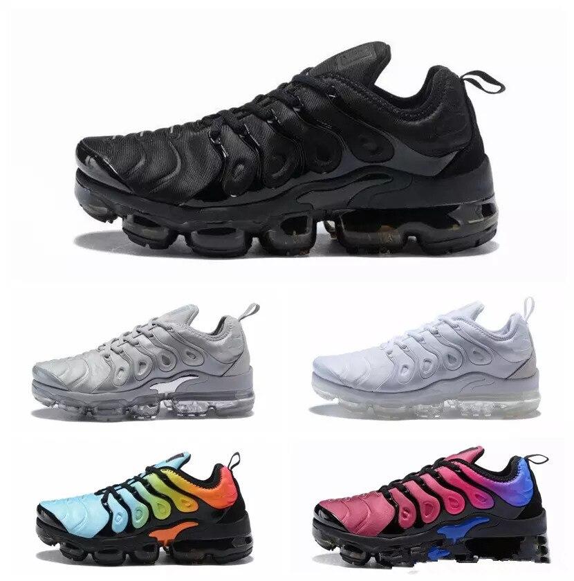 Nouveau Vapormax Tn Plus chaussures de course hommes femmes classique chaussures de course en plein air Tn noir blanc Sport choc baskets hommes
