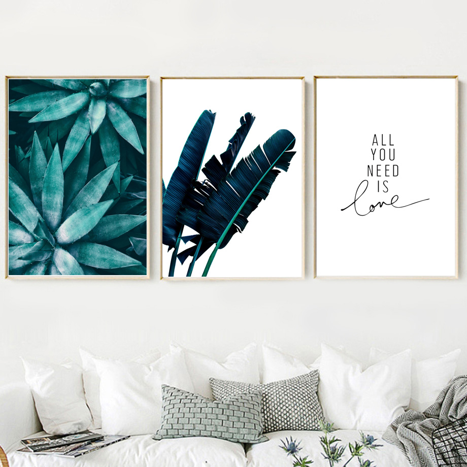 Green Tropical Plant Leaves Wall Art Canvas Prints Nordic Posters And Prints Canvas Painting Wall Pictures For Living Room Decor