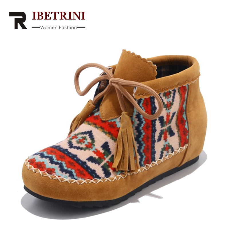 RIBETRINI Spring Autumn Fashion Large Size 34-43 Embroider Flock Lace Up Ankle Boots Woman Sewing Low Heel Colorful Women Shoes europe america style spring autumn women genuine leather thin high heel lace up low cut fashion denim shoes size 34 41 sxq0709