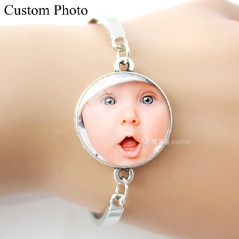 Custom DIY Your Baby Family Friend Wedding Photo Bracelet Bangle Silver Chain Women Men Fashion Customize Jewelry Birthday Gift wholesale real black blue grey pink python leather key chain customize keychain gift men women xmas family birthday couple gifts