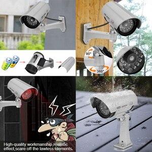 Image 5 - 2 adet kukla sahte kamera CCTV gözetim kamera dükkanı ev güvenlik LED ışık simülasyon kamera su geçirmez açık kamera