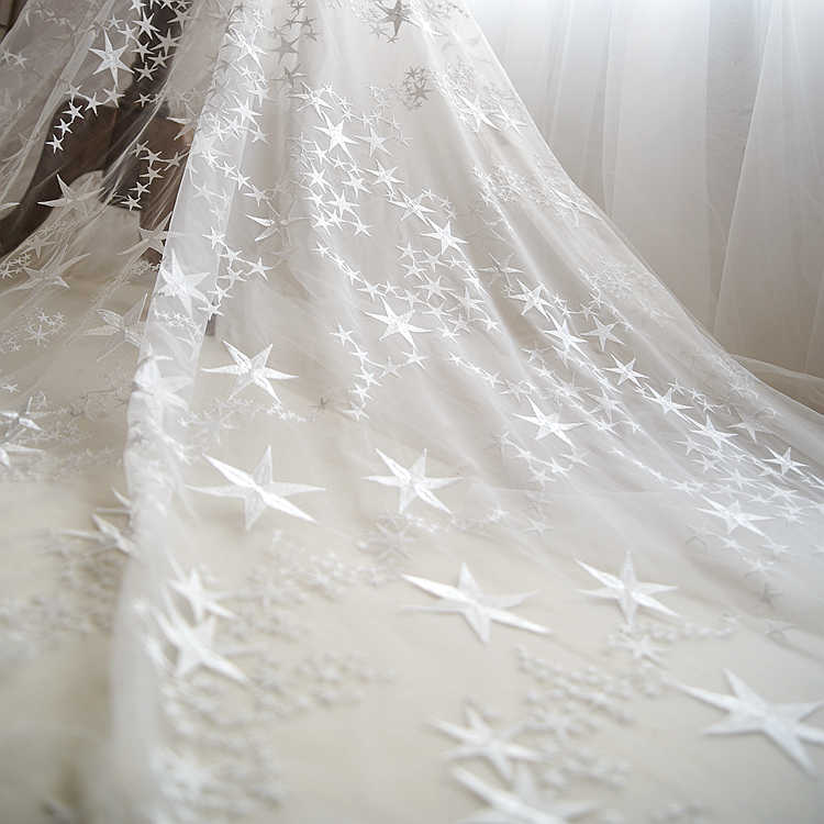 Beautiful Off White Stars Embroidered Mesh Lace Fabric Tulle Fabric For  Dress a7d28f104f8d