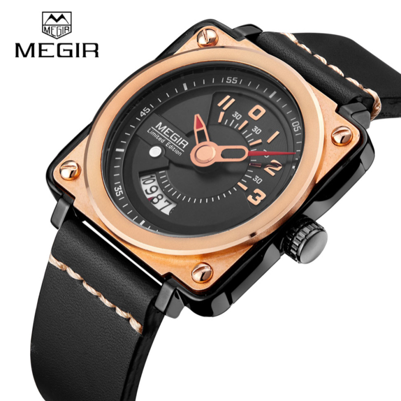 Top Luxury Brand Megir Mens Watches Square Watch Luxury Clock Sports Man Wristwatch Famous Brand Quartz Leather Watch For Men megir mens watches leather strap square dial luxury quartz watch clock waterproof sport chronograph wristwatch montre for man