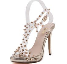 Size 4 9 Golden Rivets font b Women b font Shoes 13cm Sexy Summer High Heels