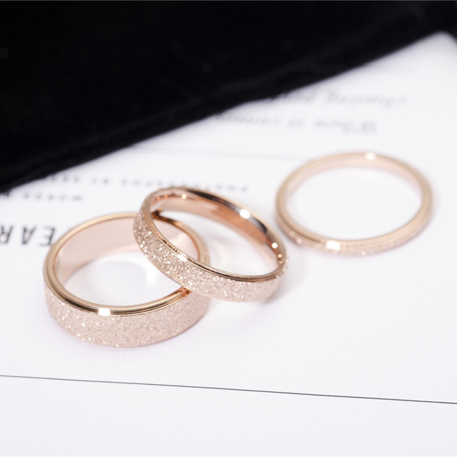 YUN RUO Rose Gold Color Frosted Finger Ring for Woman Man Wedding Jewelry 316L S