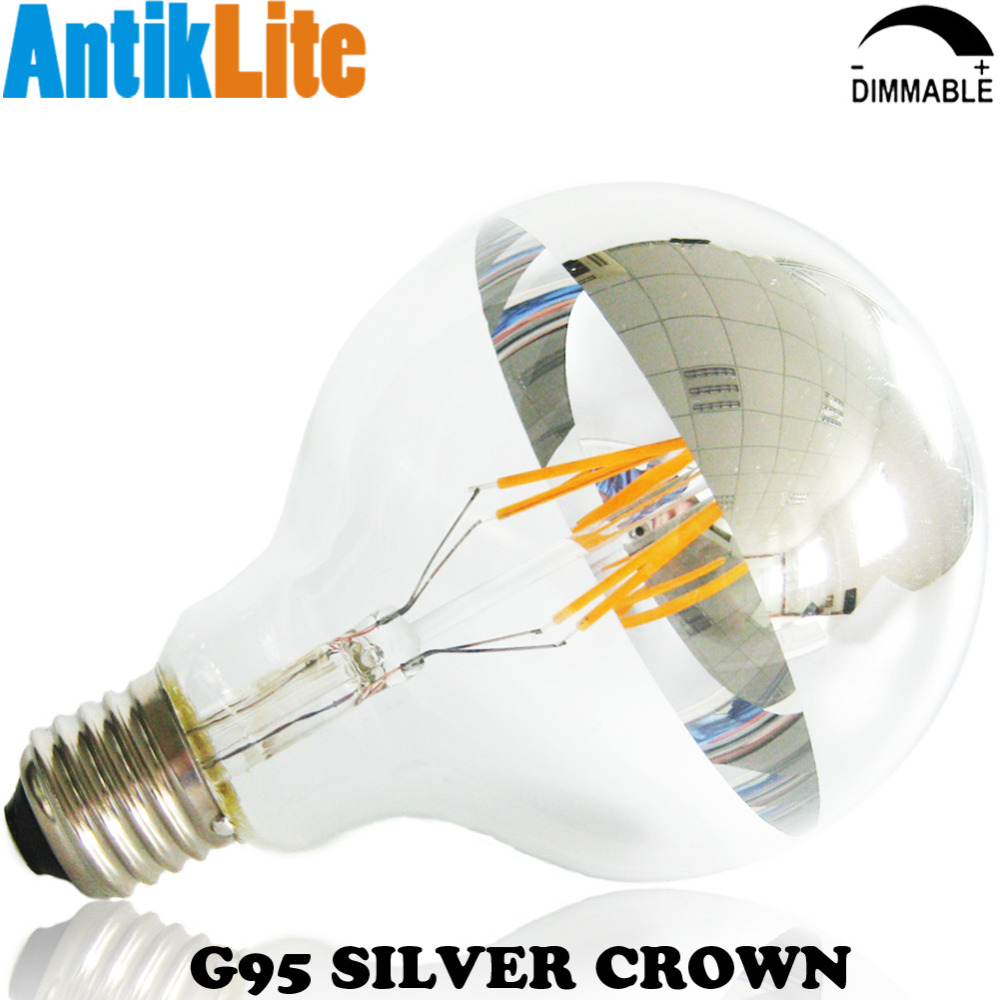 25W 40W 60W Incandescent Equal Silver Crown/Bowl/Cap/Dipped/Half Gold G95 E27 Vintage LED Filament Edison Light Bulb 4W 6W 8W g95 e27 25 40 60 75 watt w 25w 40w 60w 75w incandescent equal g30 e26 silver cap chrome tip led filament bulb 4 6 8 w 4w 6w 8w