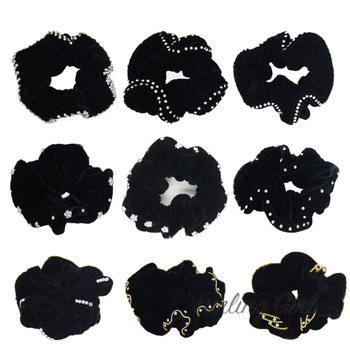 Furling Girl 1PC Velvet Hair Scrunchies with Crystals 9 Designs Elastic Hair Bands Ponytail Holder Hair Accessories for Women 24 9 hair holder drawing mat for use with the application of hair extensions drawing card skin pad with needles