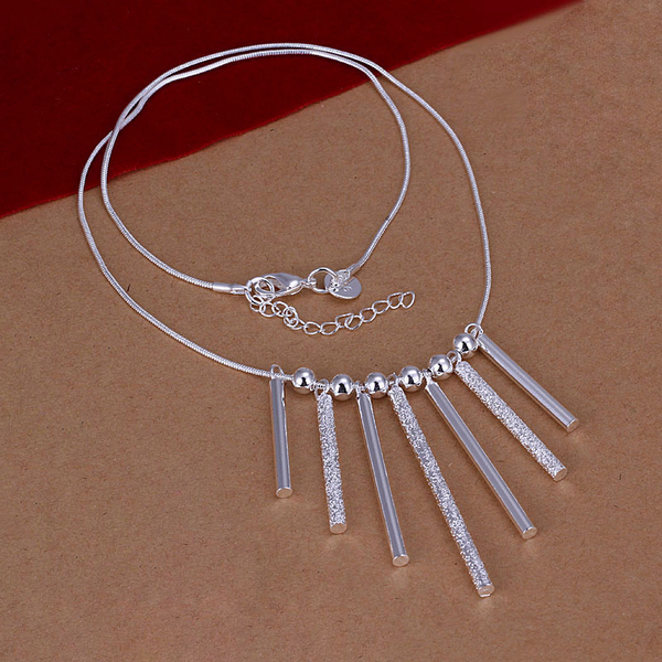 2017 choker necklace chain 925 sterling silver jewelry vintage fashion silver seven frosted cylinder pendant necklaces CN094