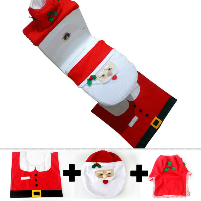 Creative 2017 New Year 3pcs Set Christmas Indoor Bathroom Toilet Seat Cover Decorations Santa Claus