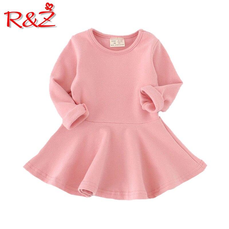 R&Z 2018 Girls Dress princess Autumn Kids Dresses for Baby Girls clothes Long Petal Sleevel solid Children Clothing