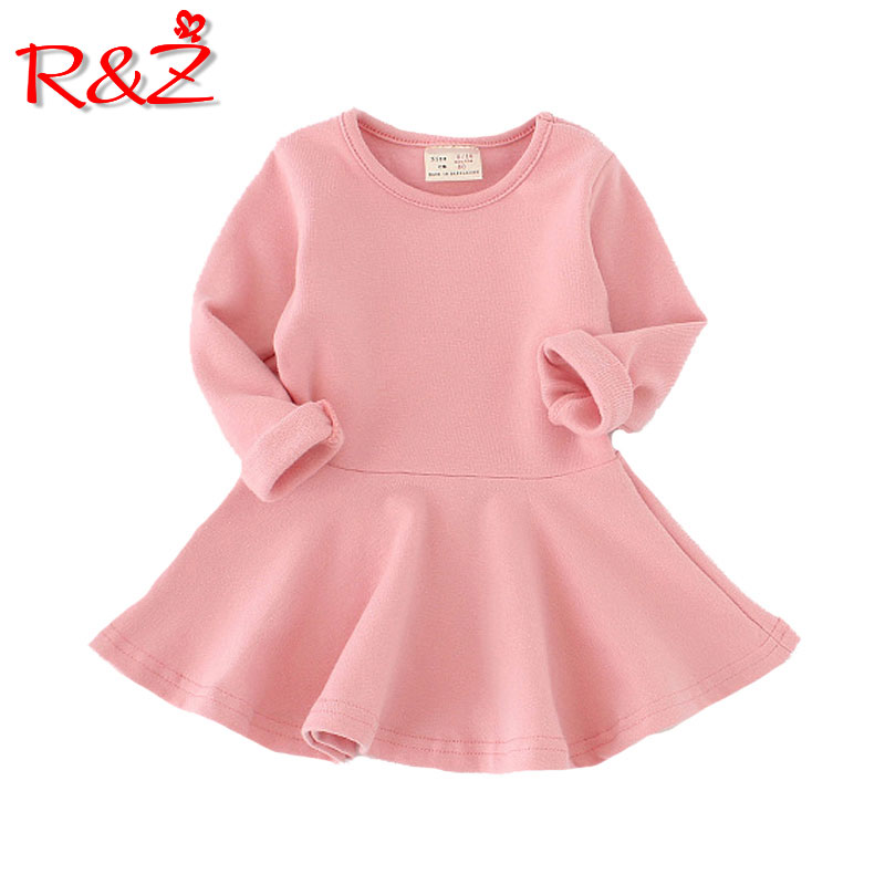 R&Z 2018 Girls Dress princess Autumn Kids Dresses for Baby Girls clothes Long Petal Sleevel solid Children Clothing