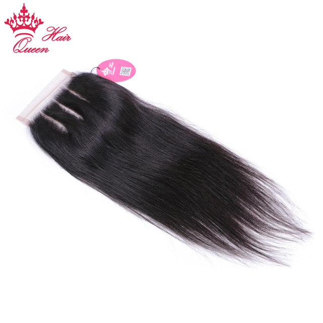 Queen Hair Products Lace Closure Brazilian Straight Virgin Human Hair Natural Color 4x4 Three Part Top Swiss Shipping Free